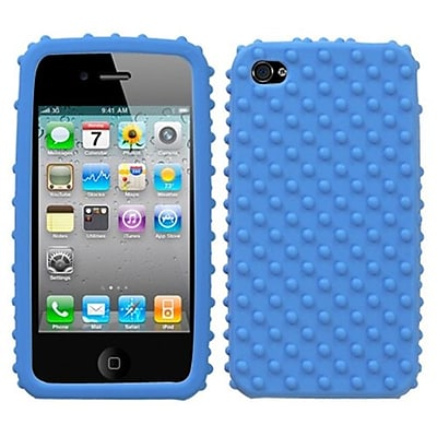 Insten® Solid Skin Cover F/iPhone 4/4S; Dark Blue Dots
