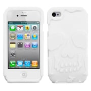 Insten® Skullcap Base Hybrid Protector Cover F/iPhone 4/4S, Solid White