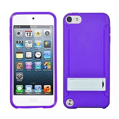 Insten® Gummy Cover With Stand For iPod Touch 5th Gen, Solid White/Solid Purple