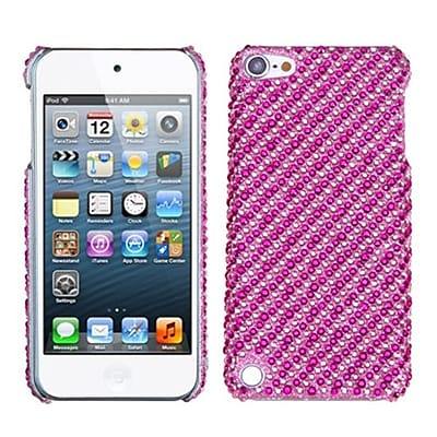 Insten® Stripe Diamante Phone Back Protector Cover For iPod Touch 5th Gen, Pink/Hot-Pink