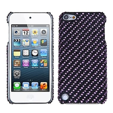 Insten Stripe Diamante Phone Back Protector Cover For iPod Touch 5th Gen, Purple/Black (1019153)