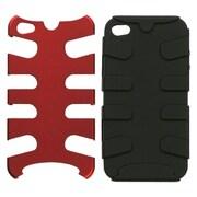Insten® Fishbone Phone Protector Cover F/iPhone 4/4S, Titanium Red/Black