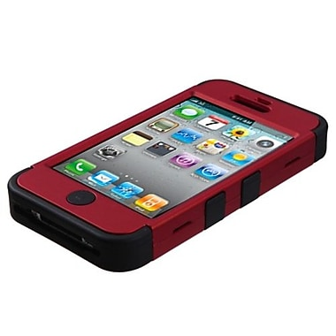 Insten® TUFF Hybrid Phone Protector Cover F/iPhone 4/4S, Titanium Red/Black