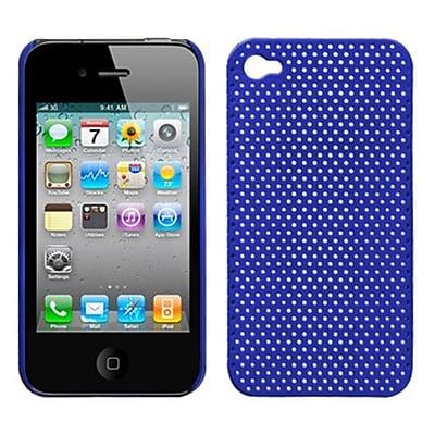 Insten® Lattice Back Protector Cover For iPhone 4/4S; Titanium Solid Dark Blue