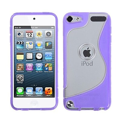 Insten® Transparent S-Shape Gummy Cover For iPod Touch 5th Gen, Clear/Purple
