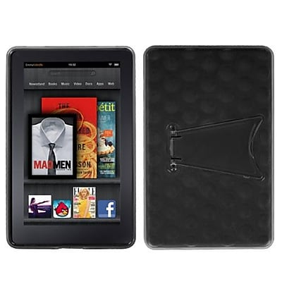 Insten® Hole Pattern Gummy Cover W/Stand For Kindle Fire, Transparent Smoke/Solid Black (1019687)