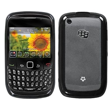 Insten® Gummy Cover For BlackBerry 8520/8530, Transparent Clear/Solid Black
