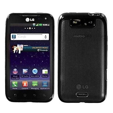 Insten® Gummy Case For LG MS840 Connect 4G, Clear/Solid Black