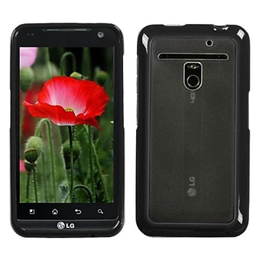 Insten® Gummy Cover For LG VS910 Revolution/Esteem, Transparent Clear/Solid Black