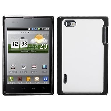 Insten® Gummy Cover For LG VS950 Optimus Vu/VS950 Intuition, Transparent Clear/Solid Black