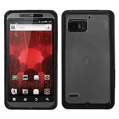 Insten® Gummy Cover For Motorola XT875 Droid Bionic, Transparent Clear/Solid Black