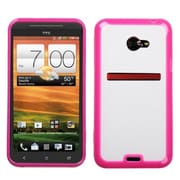 Insten® Gummy Cover Case For HTC EVO One 4G LTE, Clear/Solid Hot-Pink