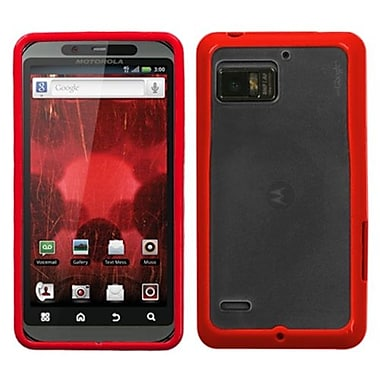 Insten® Gummy Cover For Motorola XT875 Droid Bionic, Transparent Clear/Solid Red