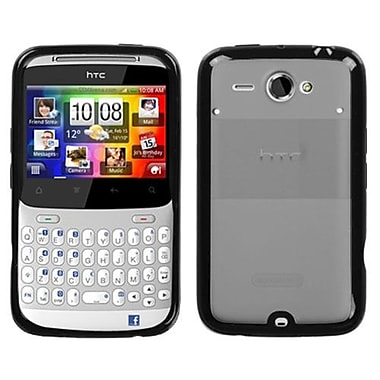 Insten® Gummy Cover For HTC Status/ChaCha, Transparent Smoke/Solid Black