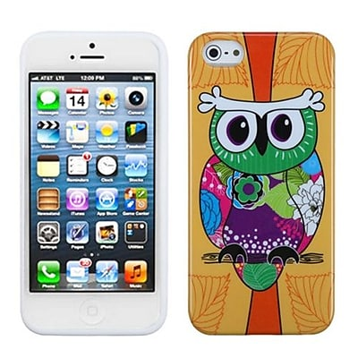 Insten® Argyle Candy Skin Cover F/iPhone 5/5S, Tropical Orange Owl