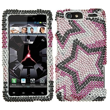 Insten® Diamante Protector Cover For Motorola XT912M Droid RAZR Maxx, Twin Stars