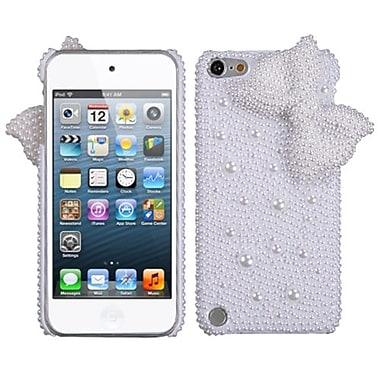 Insten® Diamante Back Protector Cover For iPod Touch 5th Gen, White Bow Pearl 3D