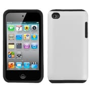 Insten® Fusion Rubberized Faceplate Case For iPod Touch 4th Gen; White (1020043)