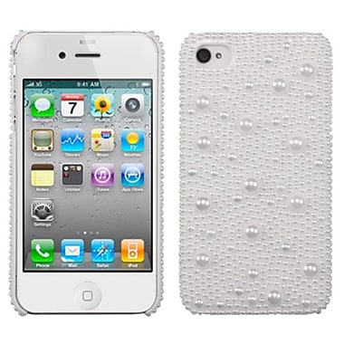 Insten® Pearl Diamante Back Protector Cover F/iPhone 4/4S, White