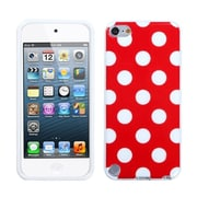 Insten® Polka Dots Design TPU Plastic Gummy Skin Phone Cover For iPod Touch 5th Gen, Red/White