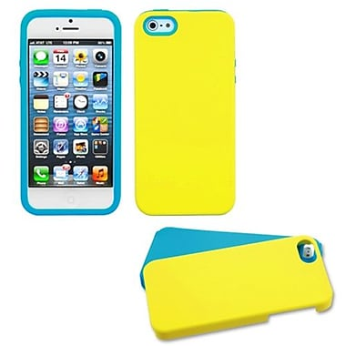 Insten Fusion Rubberized Protector Cover With Quarter Stand For iPhone 5/5S, Yellow/Tropical Teal (1020160)
