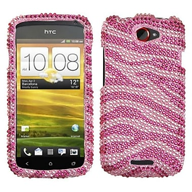 Insten® Diamante Protector Case For HTC-One S, Pink/Hot-Pink Zebra