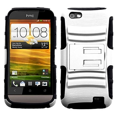 Insten® Protector Stand Snap-In Case For HTC-One V T320e, White/Black