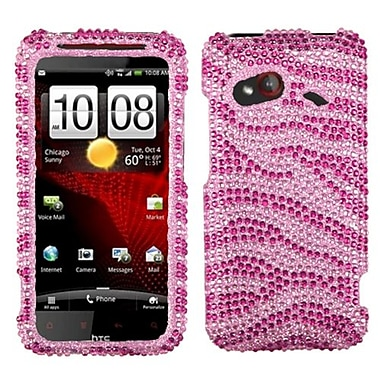 Insten Snap-In Faceplate Case For HTC Droid Incredible 4G LTE, Pink Zebra Rhinestones (1030933)