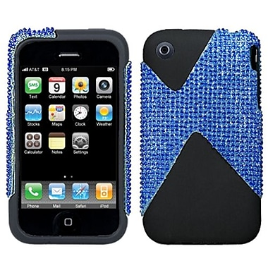 Insten Dual Protector Case For iPhone 3G/3GS, Blue Diamante/Black (1031868)