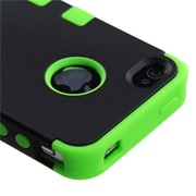 Insten® TUFF Hybrid Rubberized Phone Protector Cover F/iPhone 4/4S, Black/Electric Green