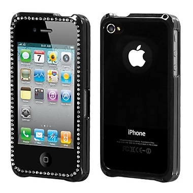 Insten® Surround Shield Protector Cover For iPhone 4/4S, Gunmetal/Silver Diamonds/Chrome Coating