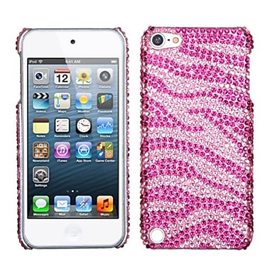 Insten® Zebra Skin Diamante Back Protector Cover For iPod Touch 5th Gen, Pink/Hot-Pink