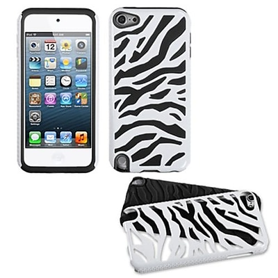 Insten® Fusion Dual Layer Hybrid Protector Cover For iPod Touch 5th Gen, White Zebra/Black