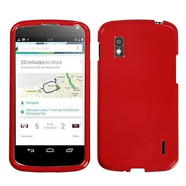Insten® Protector Cover For LG E960 Nexus 4, Solid Flaming Red
