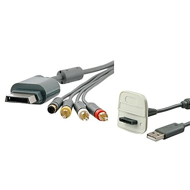 Insten® 1034917 2-Piece Game Cable Bundle For Microsoft Xbox 360 Slim Wireless Controller