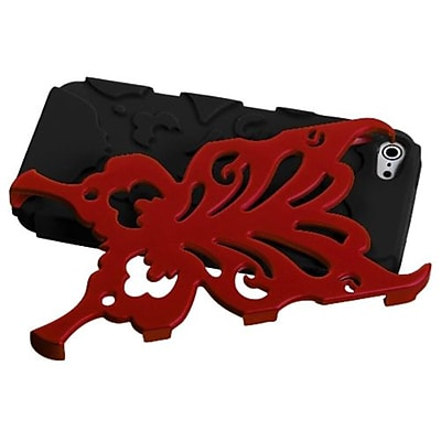 Insten® Butterflykiss Hybrid Phone Protector Cover F/iPhone 5/5S, Titanium Red/Black