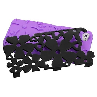 Insten® FlowerPower Hybrid Rubberized Phone Protector Cover F/iPhone 5/5S; Black/Electric Purple
