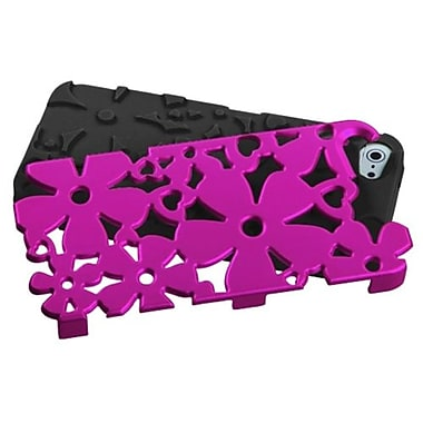 Insten® FlowerPower Hybrid Phone Protector Cover F/iPhone 5/5S, Titanium Solid Hot-Pink/Black