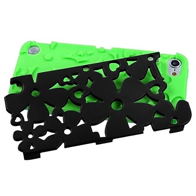 Insten® Flower Shape Fishbone Protector Cover For iPod Touch 5th Gen, Black/Electric Green