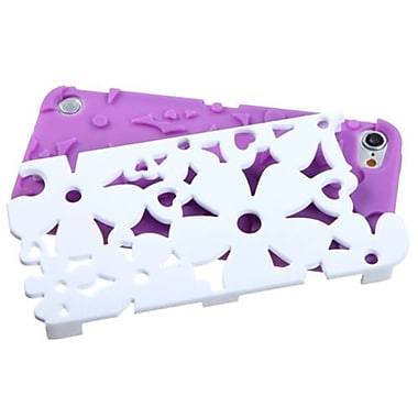 Insten® FlowerPower Hybrid Protector Cover For iPod Touch 5th Gen, Solid Ivory White/Electric Purple