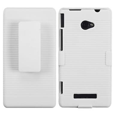 Insten® Hybrid Holster For HTC 6990LVW/Windows 8X/Windows Phone 8X, Solid Ivory White