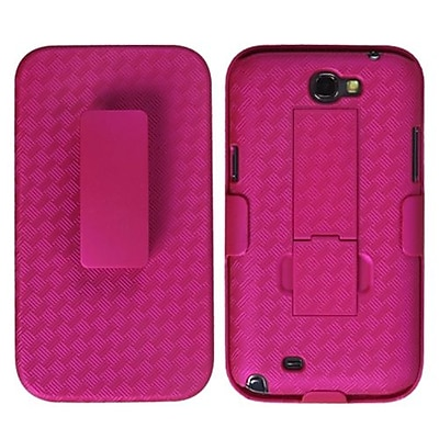 Insten® Rubberized Hybrid Holster With Stand For Samsung Galaxy Note II, Hot-Pink