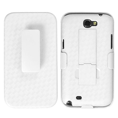 Insten® Rubberized Hybrid Holster With Stand For Samsung Galaxy Note II, Solid Ivory White