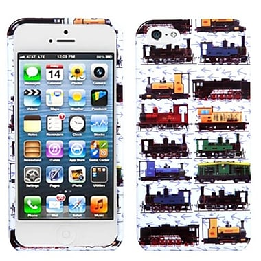 Insten Phone Protector Cover For iPhone 5/5S, Retro Trains/White (1038985)