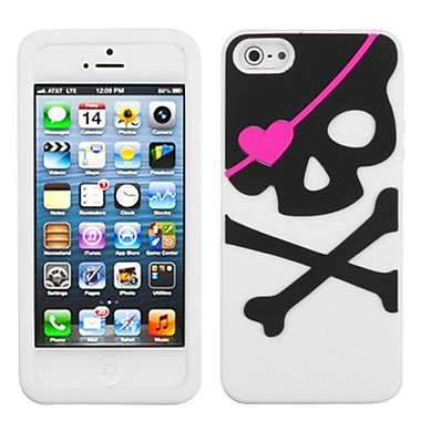 Insten® Pastel Skin Cover F/iPhone 5/5S, Big Skull/Whit