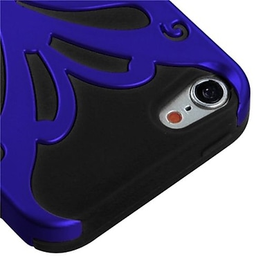 Insten® Butterflykiss Hybrid Protector Cover For iPod Touch 5th Gen, Titanium Dark Blue/Black