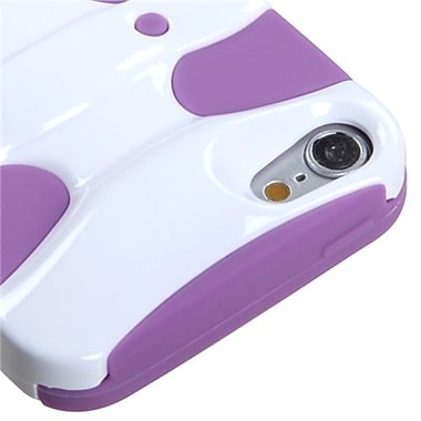 Insten® 3D Fishbone Hybrid Cover For iPod Touch 5th Gen, Solid Ivory White/Electric Purple