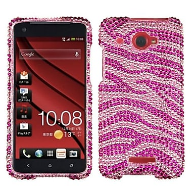 Insten Diamante Protector Case For HTC Droid DNA, Pink/Hot Pink Zebra (1039079)