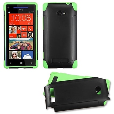 Insten® Protector Cover For HTC Windows Phone 8X, Black/Green Frosted Fusion