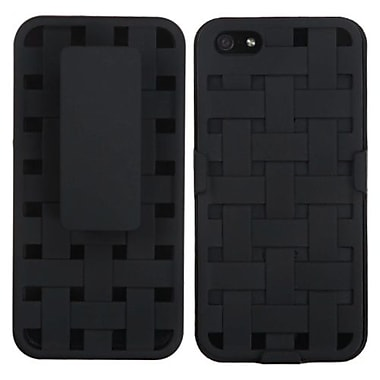 Insten® Hybrid Rubberized Weave Texture Holster F/iPhone 5/5S, Black